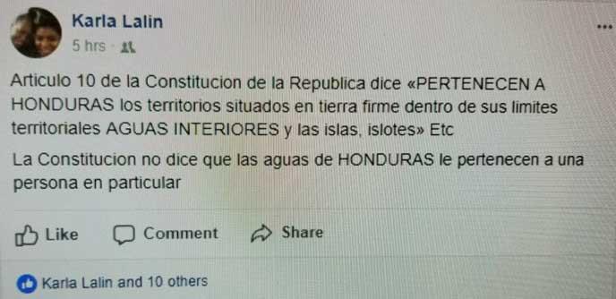 Karla sobre las aguas de Honduras